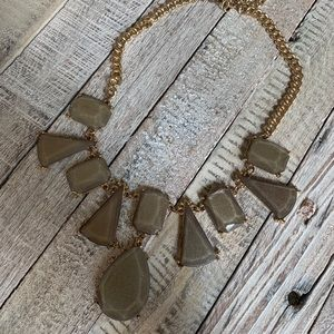 Gray Pearlized Geometric Statement Necklace